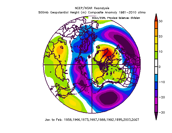 winter outlook basin wide EN JF 500 NAO