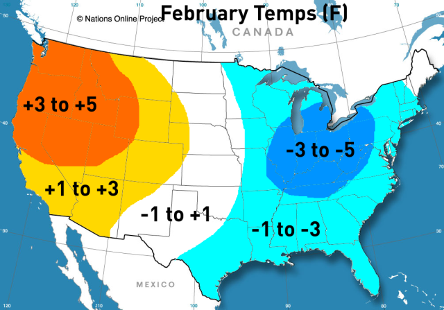 winter outlook February temps